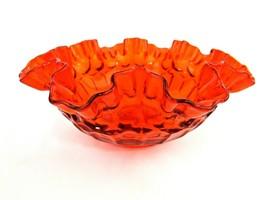 "Vintage Fenton Thumbprint Colonial Orange Ruffled Round Bowl 8""  Unmarke... - $24.75"