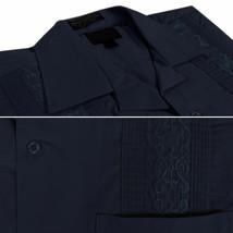 Men's Guayabera Short Sleeve Button Up Cuban Embroidered Navy Dress Shirt 4XL image 2