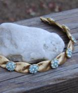 Vintage Crown Trifari Ribbon Bracelet, Light Blue Rhinestone Flowers, Te... - $95.00