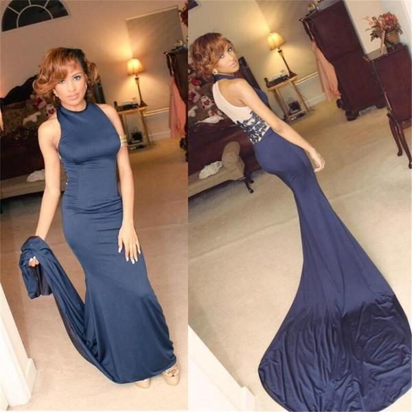 High neck blue mermaid sexy party cocktail evening long prom dresses online pd0192