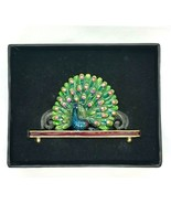 Pier 1 Imports Rhinestone Jeweled Enamel Peacock Business Card Holder Green Blue - $25.74