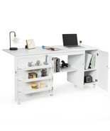 Folding Sewing Table Shelves Storage Cabinet Craft Cart with Wheels-White - $215.36