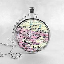 CALIFORNIA MAP Pendant Necklace, San Gabriel, Monrovia, Azusa, Covina, A... - $11.95