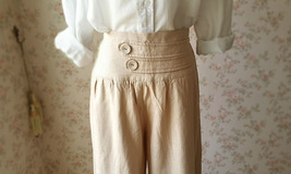 Khaki High Waisted Plus Size Linen Wide Leg Pants Women Crop Palazzo Pants NWT image 2