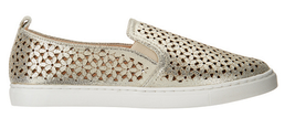 Isaac Mizrahi Live! SOHO Leather Perforated Sneakers, Metallic Gold, 7M - $39.59