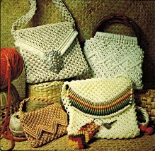 1976 Macrame Evening Shoulder Handbags Purses Tote Bag Patchwork Pattern... - $12.99