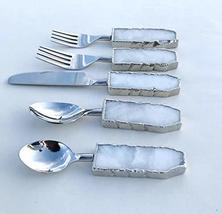 Set of 5 Pieces White Agate Cutlery - Forks/Spoons/Knife - $64.74