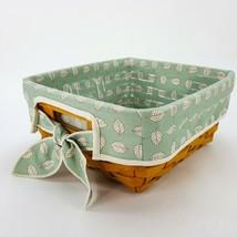 """Longaberger 11 x 10 x 5"""" Woven Basket Green Sage Leaf Liner & Protective... - $48.37"""