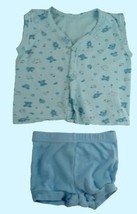 size Newborn blue sleeveless shirt with size 3 mos Carter's blue shorts - $4.50