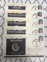 2000 Commemorative Cover Quarter Set- 5 States **FREE SHIPPING** - $7.90