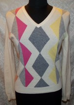 Brooks Brothers Pure Cashmere V-neck Sweater S Womens Argyle Print - $38.73