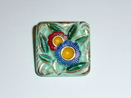 "Beautiful Vintage Flowers Square Czech Glass Shank Button 1-1/4"" Light G... - $6.92"