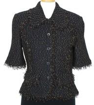 ST. JOHN Black Textured Tweed Fringe Elbow Sleeve Wool Blend Knit Jacket... - $549.99