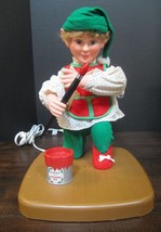 Vintage Rennoc Animated Elf Painting Christmas Toys Animation Figure - $51.32