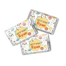Doodle Space Birthday Personalized Miniatures Candy Bar Wrapper Labels - $13.37