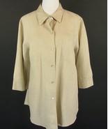 RICHARD MALCOLM Size 2X Beige Linen Shirt Button Down Top 3/4 Sleeve - $17.99