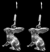 NICE 3D solid Bunny Rabbit Earrings Sterling Silver jewelry - $668,22 MXN