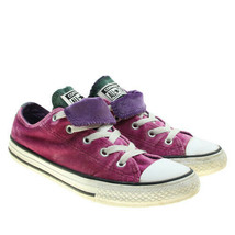 CONVERSE All Star Girls Pink Velvet Double Tongue Low Top Sneakers Youth Sz 3 - $18.80