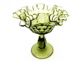 Fenton Colonial Green Glass Comport, Thumbprint Pattern, Ruffled Rim, FN... - $14.65
