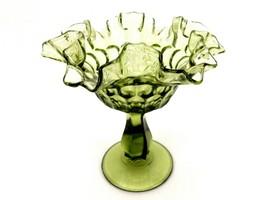 Fenton Colonial Green Glass Comport, Thumbprint Pattern, Ruffled Rim, FN... - $14.65