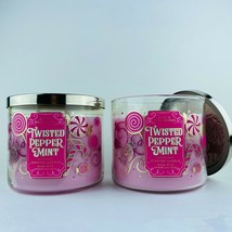 2 Bath & Body Works Twisted Peppermint 2019 Scented 3 Wick Candle 14.5 oz - $37.04