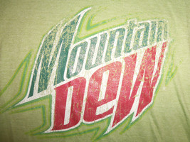 Mountain Dew Soda Pop Beverage Green 52/48 Graphic Print T Shirt - L - $15.68