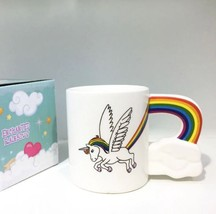 Unicorn Handle Rainbow Mug to be a wing Ceramic Coffee Milk Tea Cup - $32.95
