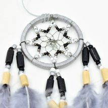 "Handcrafted Miniature 8"" Dreamcatcher Plastic Wood Beads w Gray Feathers  image 3"