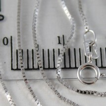 18K WHITE GOLD CHAIN MINI 0.8 MM VENETIAN SQUARE LINK 23.60 INCH. MADE IN ITALY  image 2