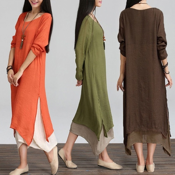 Primary image for Women Long Sleeve Side Split Double Layers A-Line Party Long Maxi Dress