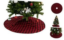 "48"" Baffalo Check Tree Skirt (Red) 48"" Buffalo Plaid Christmas Tree Ski... - $30.29"