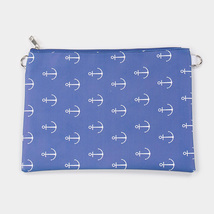 Ginga's Galleria Blue Anchor Pattern Clutch Bag - $28.21 CAD
