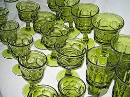 20 pc set  Fostoria Argus Green 5 different sizes Nice Collection LOOK - $109.99