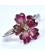 MULTI PINK TOURMALINE CARVED FLOWER DIAMOND RING IN 925 STERLING SILVER - $140.60