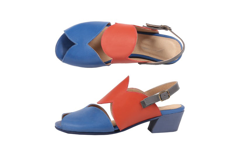 New Dual Color Stylish Cut-Out Peep Toe,Sling-Back Strap Women Leather sandals - $119.99 - $169.99