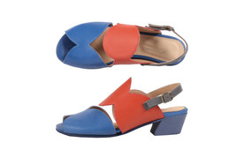 New Dual Color Stylish Cut-Out Peep Toe,Sling-Back Strap Women Leather s... - $119.99+