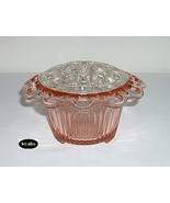 Old Colony Pink Flower Bowl w/ frog Lace Edge Hocking - $24.95