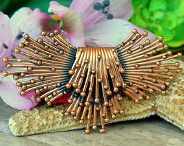 Vintage Renoir Copper Brooch Pin Modernist Atomic Starburst Sputnik - $42.95