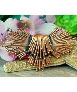 Vintage renoir copper brooch pin modernist atomic starburst sputnik thumbtall