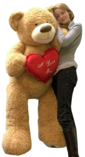 Primary image for I Love You Giant Teddy Bear 5 Foot Soft Tan Color 60 Inches, Holds Large Heart