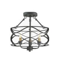 Quoizel Unity 13-in Mottled Black with Brass Modern Semi-Flush Mount Light - $79.19