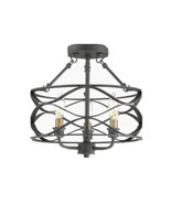 Quoizel Unity 13-in Mottled Black with Brass Modern Semi-Flush Mount Light - $79.19