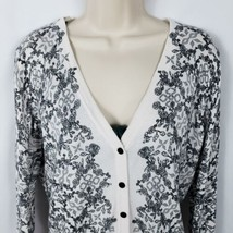 H&M Button Front Cardigan Sweater Size Large Black and White Floral Ligh... - $8.91