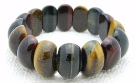 Vintage Genuine Tiger's Eye Polished Flat Back Genuine Stretch Bracelet - $29.70