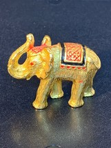 Vintage Elephant Figurine Gold Toned w/ Ruby Red Eyes Trunk Up! Very Det... - $10.00