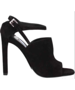 New AUTH Prada Calzature Donna Black Suede Heel EU 37.5 US 7 $795 - $193.99