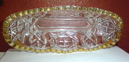 Antique American Brilliant Cut Glass Relish Dish Clear with Gold Gilt - $12.73