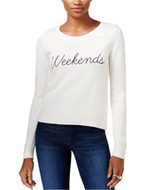 Guess Womens Long Sleeve Weekends Graphic Sweater X-Large XL Ivory $89- - $15.48