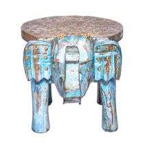 Wooden Brass FTD Home Decor Rustic Stool Elephant Shape Baby Sitter Stoo... - $53.95