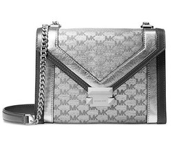 Michael Kors Whitney Large Metallic Silver Jacquard Convertible Shoulder... - $199.95